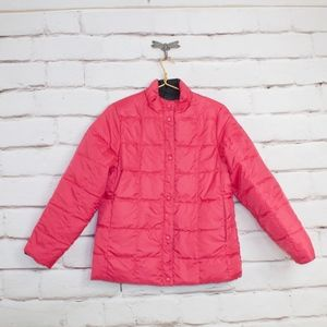 LL BEAN Reversible Pink Black Down Jacket Size M